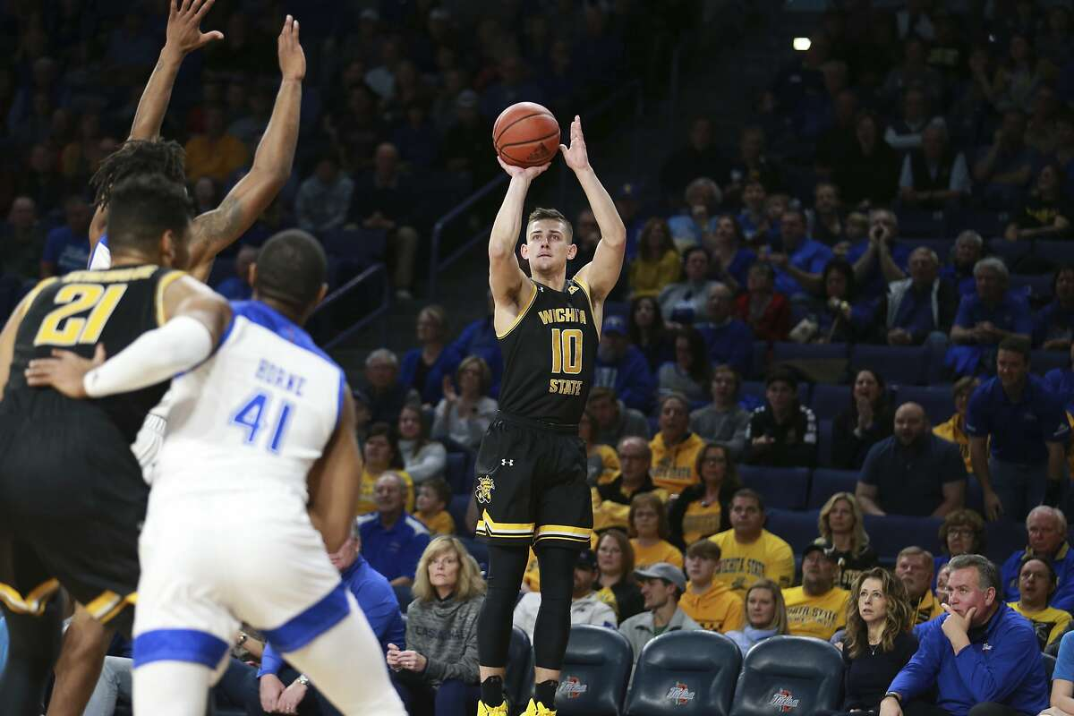 Wichita State guard Erik Stevenson (10) hits a three pointer in the first half of an NCAA college basketball game in Tulsa, Okla., Saturday, Feb. 1, 2020. (AP Photo/Joey Johnson)