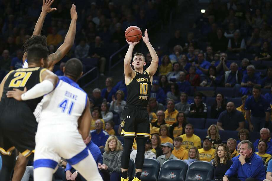 Wichita State guard Erik Stevenson (10) hits a three pointer in the first half of an NCAA college basketball game in Tulsa, Okla., Saturday, Feb. 1, 2020. (AP Photo/Joey Johnson) Photo: Joey Johnson, Associated Press