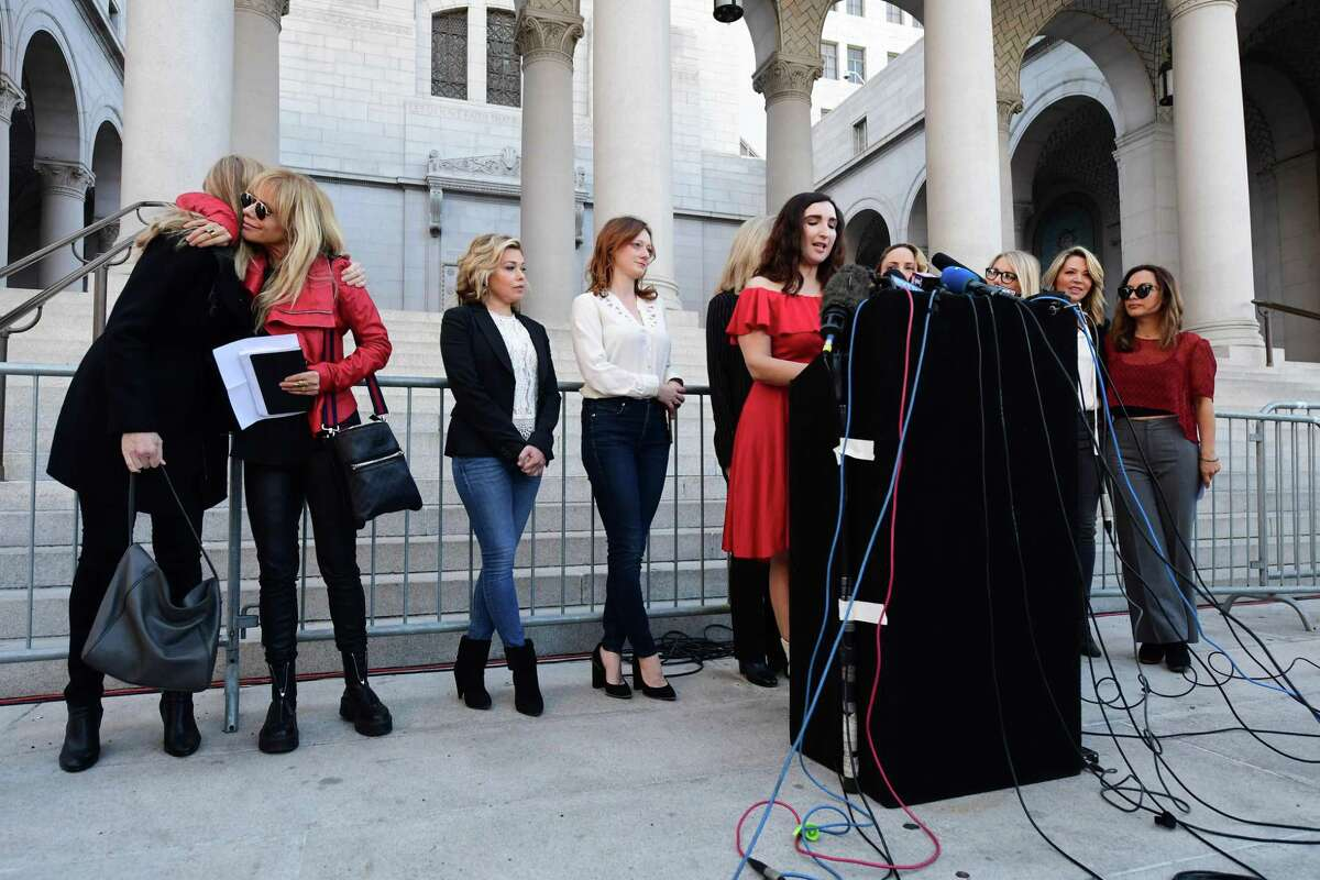 Actress Sarah Ann Masse speaks alongside a group of Silence Breakers who have fought for justice by speaking out about Harvey Weinsteins sexual misconduct, during a press conference following Harvey Weinsteins guilty verdict on February 25, 2020 in Los Angeles,California. - Harvey Weinstein was convicted February 24, 2020 of rape and sexual assault but acquitted of the most serious predatory charges, a verdict hailed as a historic victory by the #MeToo movement against sexual misconduct. (Photo by FREDERIC J. BROWN / AFP) (Photo by FREDERIC J. BROWN/AFP via Getty Images)