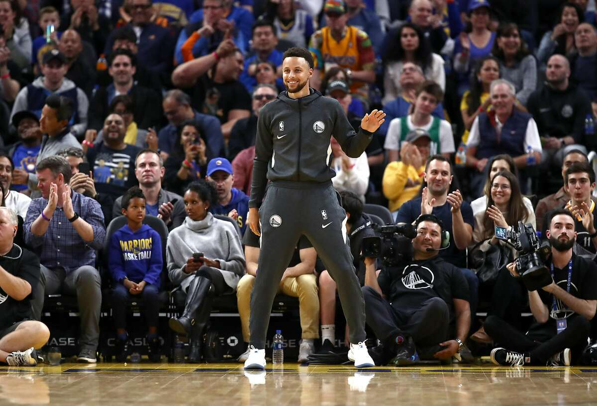 SAN FRANCISCO, CALIFORNIA - FEBRUARY 23: Stephen Curry #30 of the Golden State Warriors reacts on the side of the court after the Warriors made a basket against the New Orleans Pelicans at Chase Center on February 23, 2020 in San Francisco, California. NOTE TO USER: User expressly acknowledges and agrees that, by downloading and or using this photograph, User is consenting to the terms and conditions of the Getty Images License Agreement. (Photo by Ezra Shaw/Getty Images)