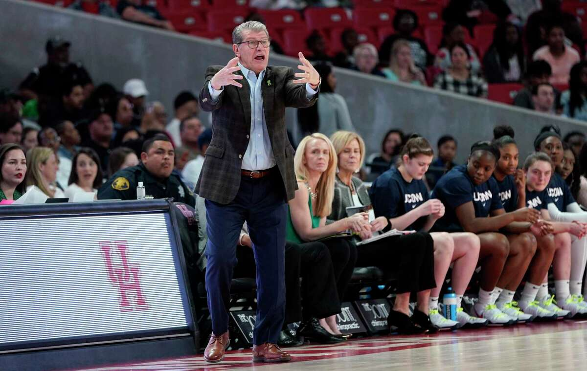 Connecticut coach Geno Auriemma yells to his players during the first half of an NCAA college basketball game against the Houston Saturday, Feb. 29, 2020, in Houston.