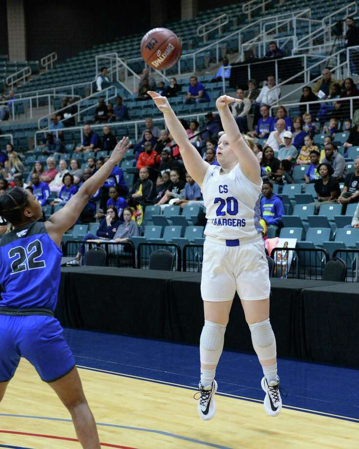 Emma McIntosh (20) of Clear Springs attempts a 3-point shot in the Region III-6A championship against Cy Creek Saturdayat the Leonard Merrell Center. Photo: Craig Moseley, Houston Chronicle / Staff Photographer / ©2020 Houston Chronicle