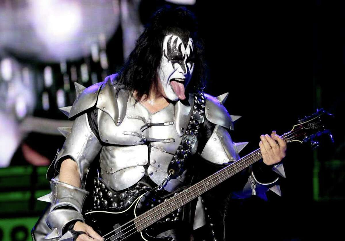 Kiss singer Gene Simmons performs during his concert on April 11, 2009, in Bogota. The concert is part of the band's tour to celebrate their 35th anniversary. (Getty Images)
