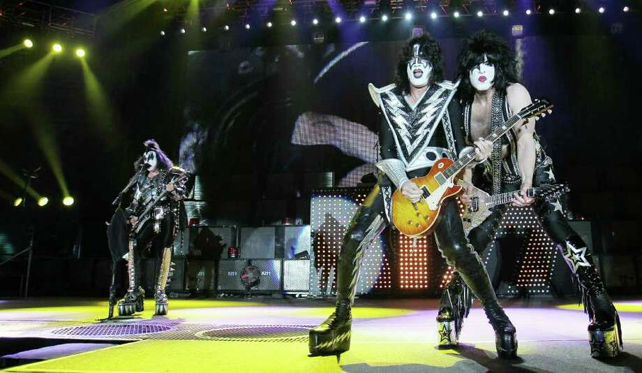 Gene Simmons, Tommy Thayer and Paul Stanley of Kiss perform on stage on May 25, 2010 in Leipzig, eastern Germany. (Sebastian Willnow / Getty Images) Photo: SEBASTIAN WILLNOW / DDP