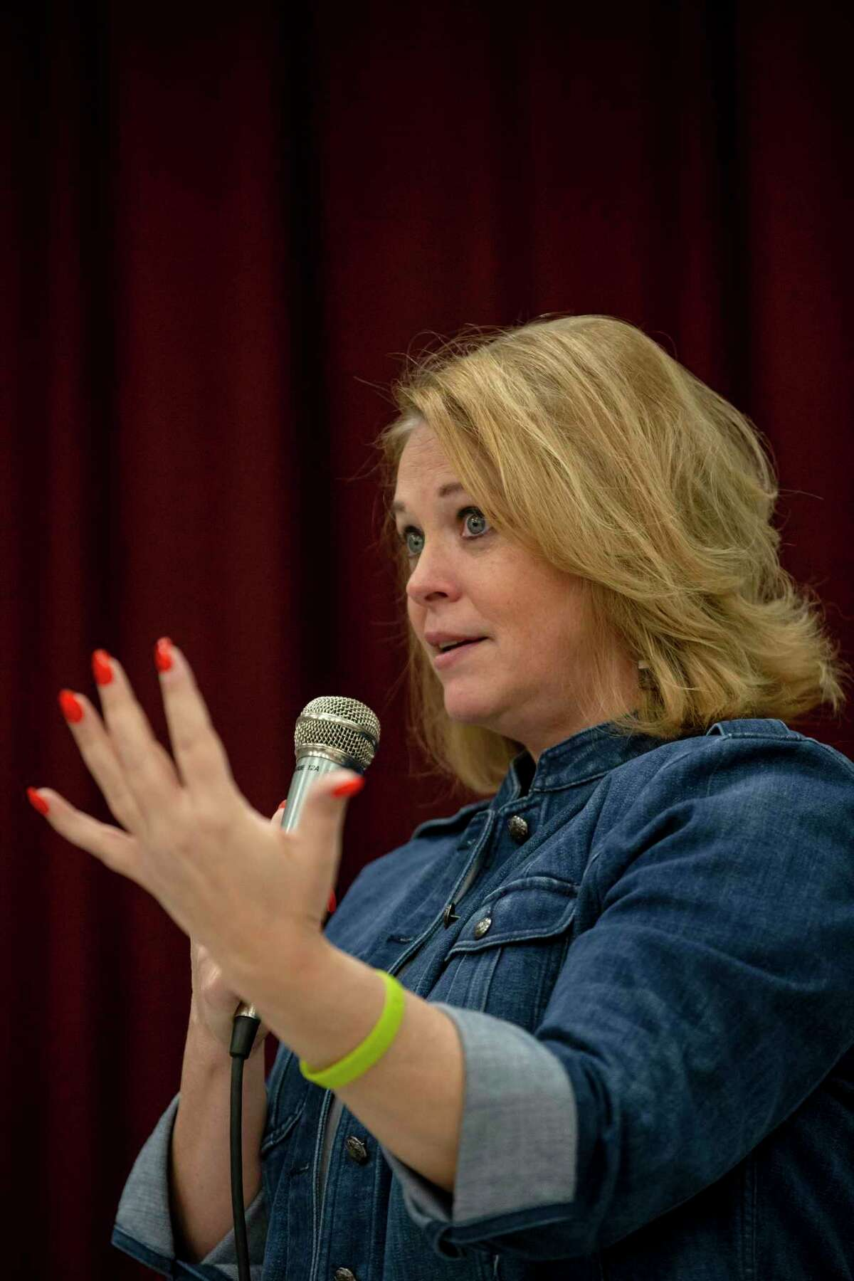 Director of Metro Health Dawn Emerick addresses community concerns about the new coronavirus, called COVID-19 during a District 4 forum on public safety held at John Glenn Elementary School in San Antonio on Feb. 27, 2020.