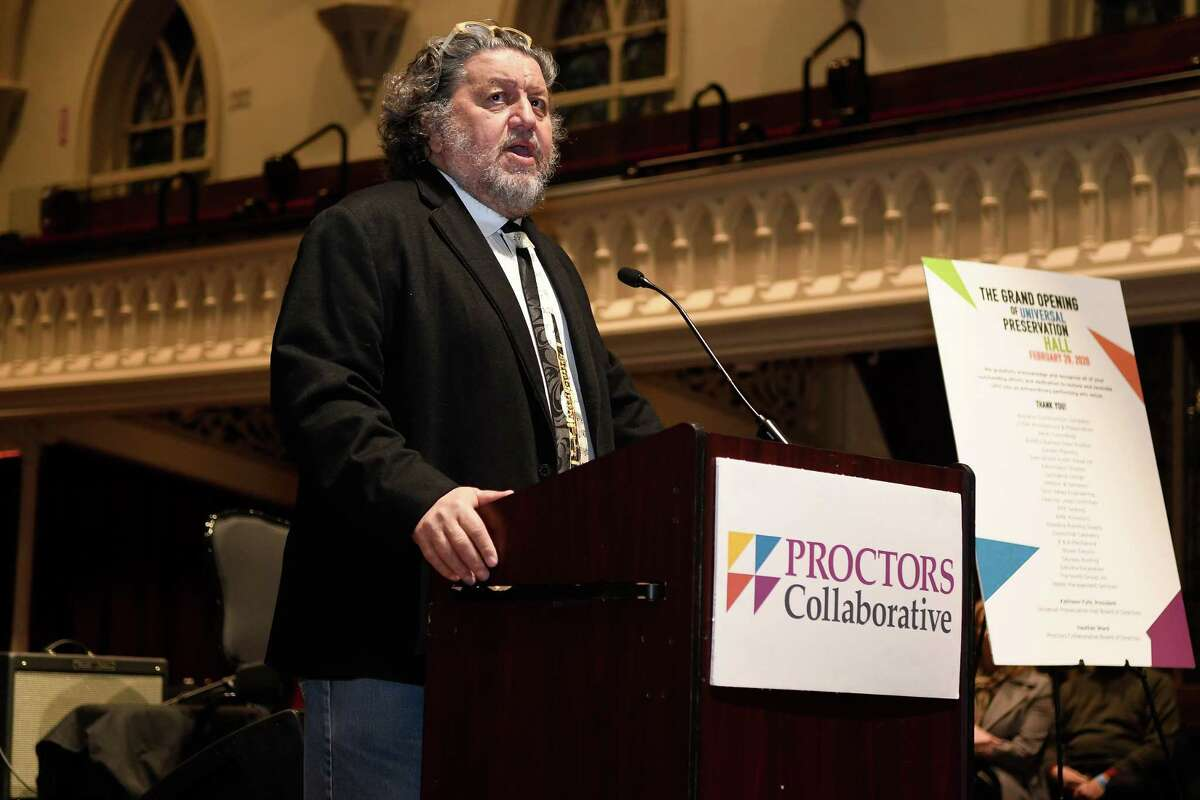 Proctors has furloughed workers because of the coronavirus. Proctors Collaborative CEO Phillip Morris speaks at the media tour and ribbon cutting of the Universal Preservation Hall in Saratoga Springs, N.Y., on Saturday, Feb. 29, 2020. (Jenn March, Special to the Times Union )