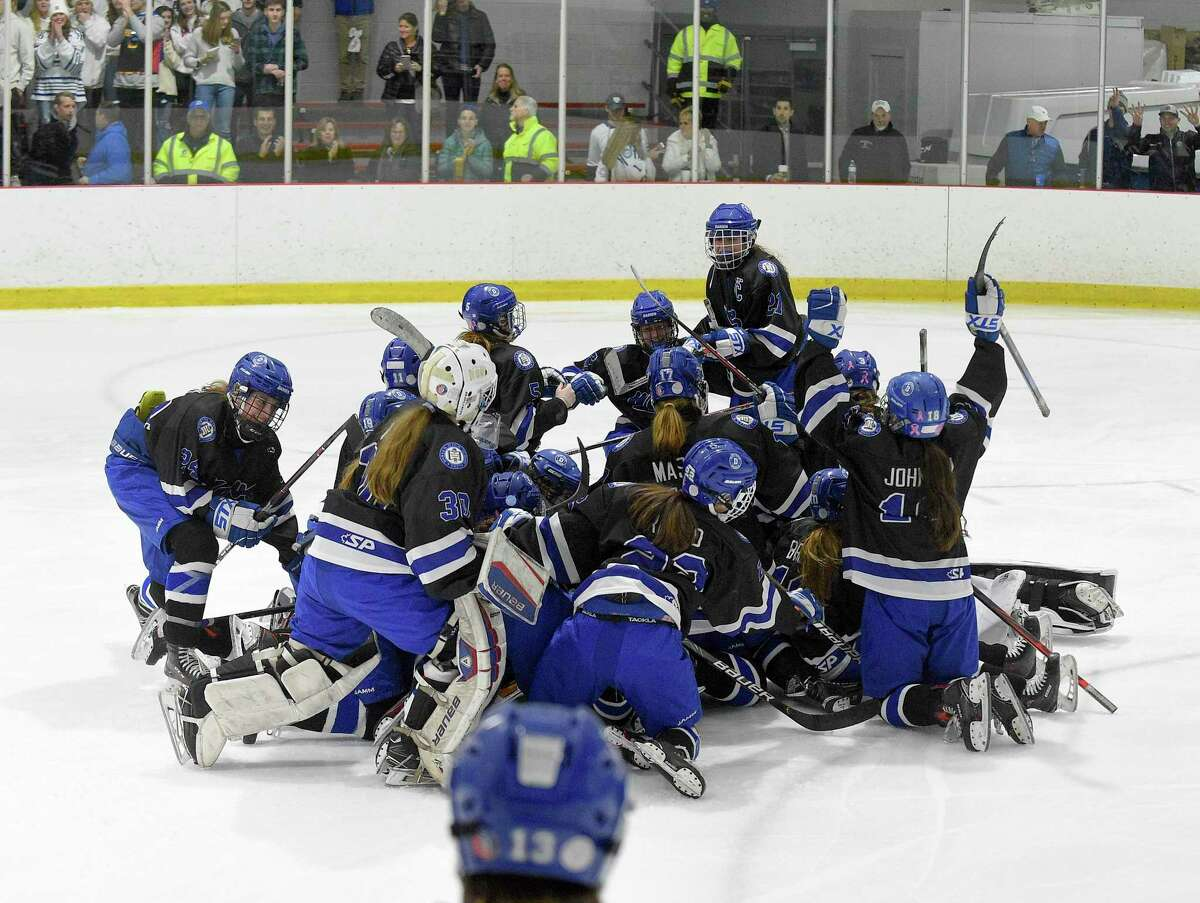 Darien players celebrate after defeating New Canaan 4-2 in the FCIAC Girls' Ice Hockey finals at the Darien Ice House in Darien on Saturday,.