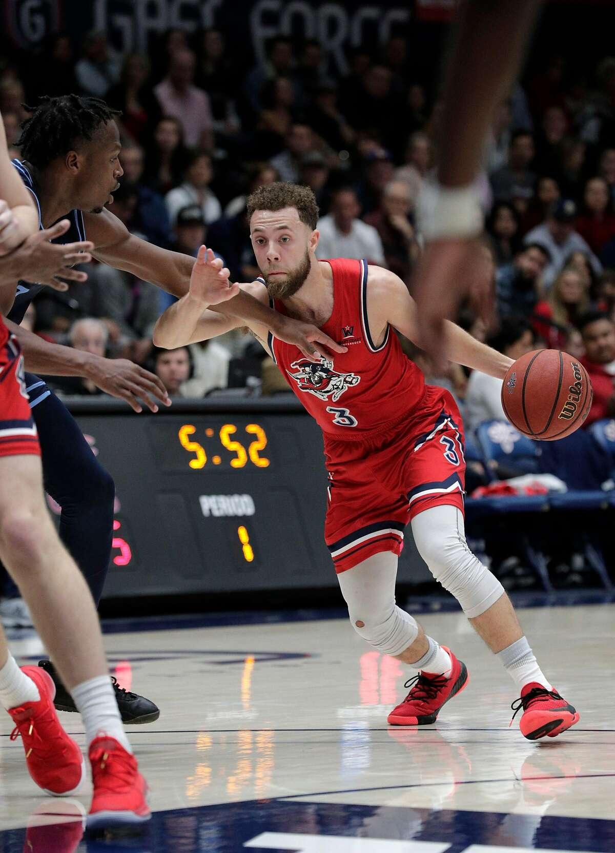 Jordan Ford (3) drives to the basket in the first half as the St. Mary's Gaels played the University of San Diego Toreros at McKeon Pavilion in the Gael's final home game in Moraga, Calif., on Saturday, February 22, 2020.