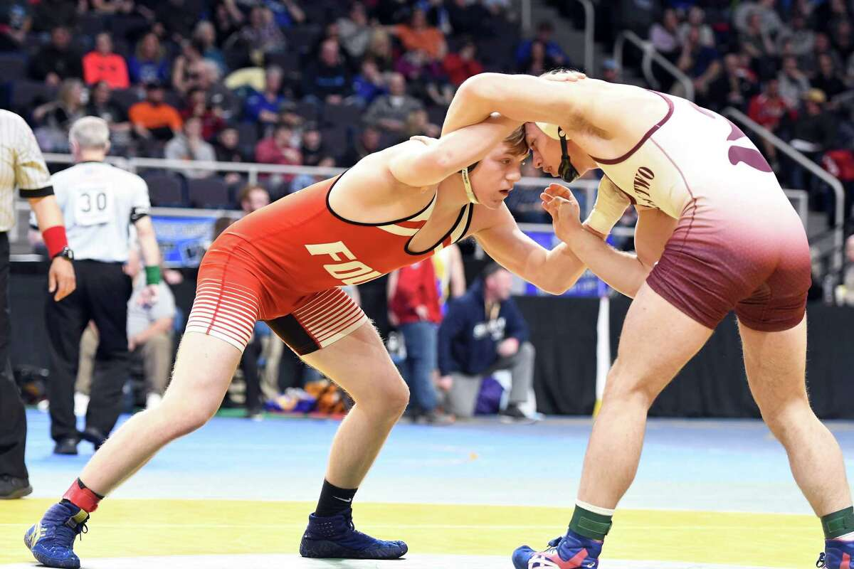 Cobleskill-Richmondvill's Ethan Cooper wrestles Windsor's Gabe Monroe in a 182-lb. weight class State Semifinal match at the Times Union Center in Albany on Saturday, Feb. 29, 2020. (Jenn March, Special to the Times Union)