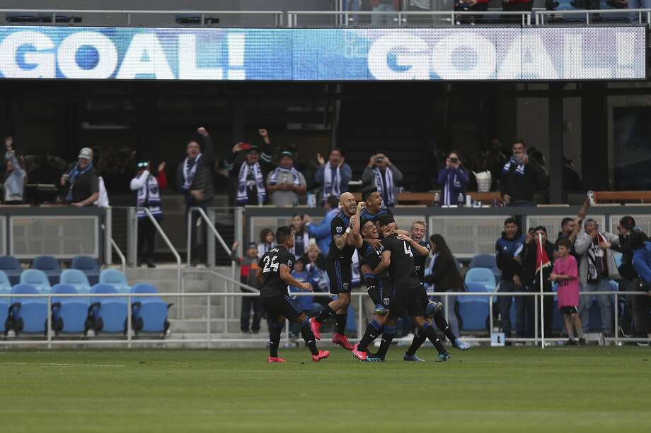 San Jose Earthquakes' Oswaldo Alanis (4) celebrates with teammates after scoring against Toronto FC during the second half of an MLS soccer game in San Jose, Calif., Saturday, Feb. 29, 2020. (AP Photo/Jed Jacobsohn) Photo: Jed Jacobsohn / Associated Press