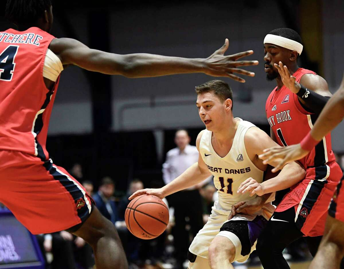 University at Albany guard Cameron Healy (11) moves the ball against Stony Brook during the first half of a NCAA college basketball game, Saturday, Feb. 29, 2020, in Albany, N.Y.