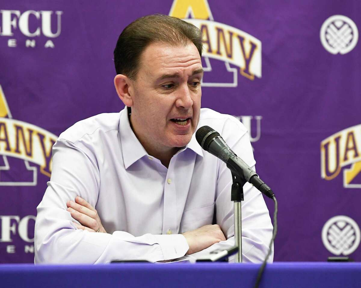 University at Albany head coach Will Brown talks to reporters after a 52-49 loss to Stony Brook during an NCAA college basketball game, Saturday, Feb. 29, 2020, in Albany, N.Y. (Hans Pennink / Special to the Times Union)