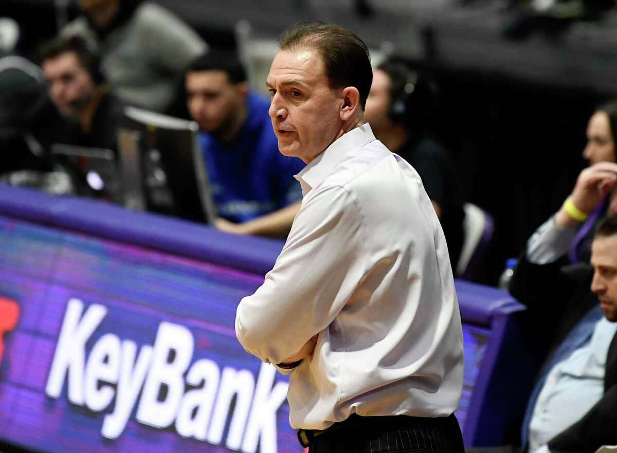 University at Albany head coach Will Brown watches his team play Stony Brook during the second half of a NCAA college basketball game, Saturday, Feb. 29, 2020, in Albany, N.Y. Stony Brook won 52-49. (Hans Pennink / Special to the Times Union)