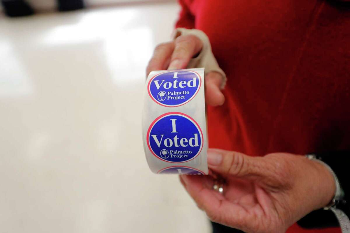 FILE. 'I voted' stickers from earlier this year. (AP Photo/Gerald Herbert)