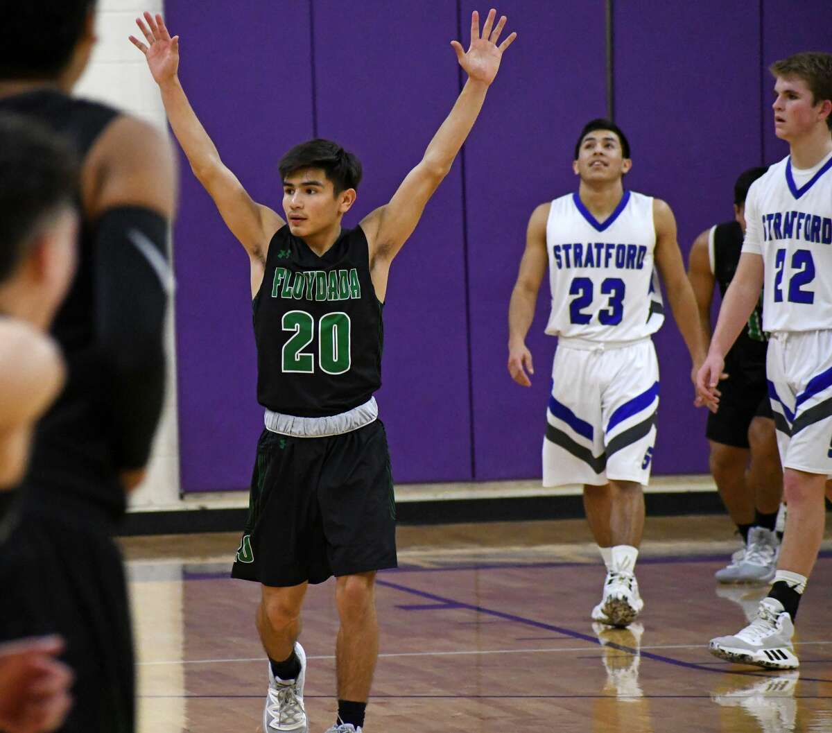 Floydada senior Marcus Perez celebrates his team's 64-63 win over Stratford in a Class 2A area championship boys basketball game on Friday, Nove. 28, 2020 at Canyon High School.