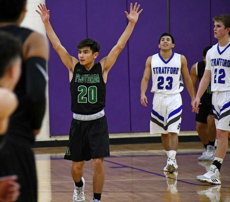 Floydada senior Marcus Perez celebrates his team's 64-63 win over Stratford in a Class 2A area championship boys basketball game on Friday, Nove. 28, 2020 at Canyon High School. Photo: Nathan Giese/Planview Herald