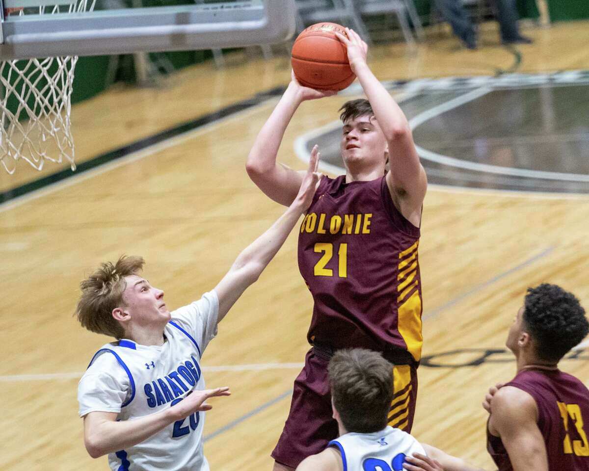 Colonie sophomore Victor Pharr takes a jumper against Saratoga in the Section II, Class AA quarterfinals at Hudson Valley Community College in Troy, NY on Saturday, Feb. 29, 2020 (Jim Franco/Special to the Times Union.)