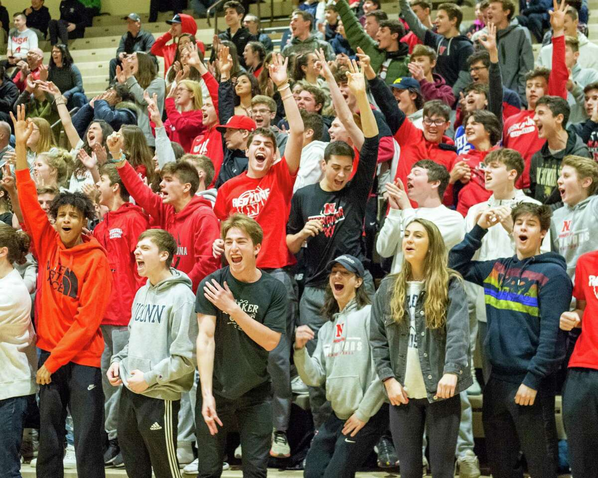 Niskayuna fans cheer for their team in the Section II, Class AA quarterfinals against Bethlehem at Hudson Valley Community College in Troy, NY on Saturday, Feb. 29, 2020 (Jim Franco/Special to the Times Union.)