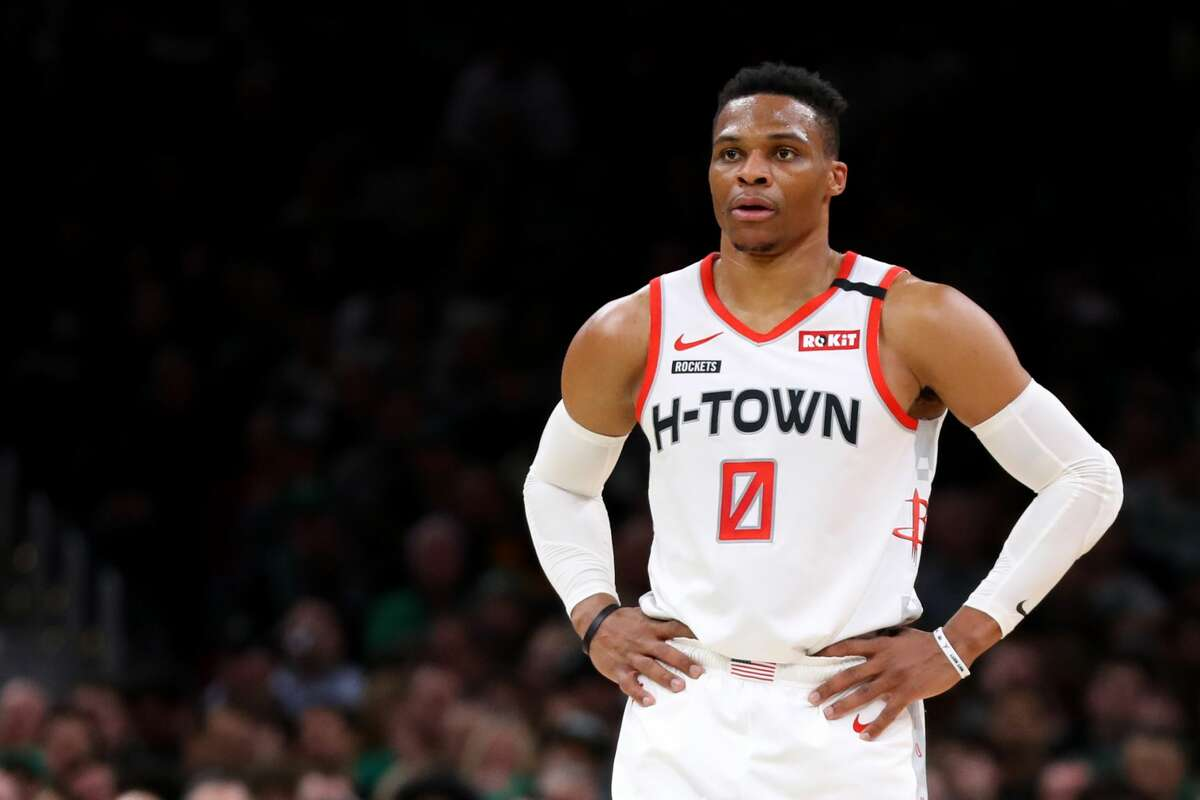BOSTON, MASSACHUSETTS - FEBRUARY 29: Russell Westbrook #0 of the Houston Rockets looks on during the first half of the game against the Boston Celtics at TD Garden on February 29, 2020 in Boston, Massachusetts. (Photo by Maddie Meyer/Getty Images)