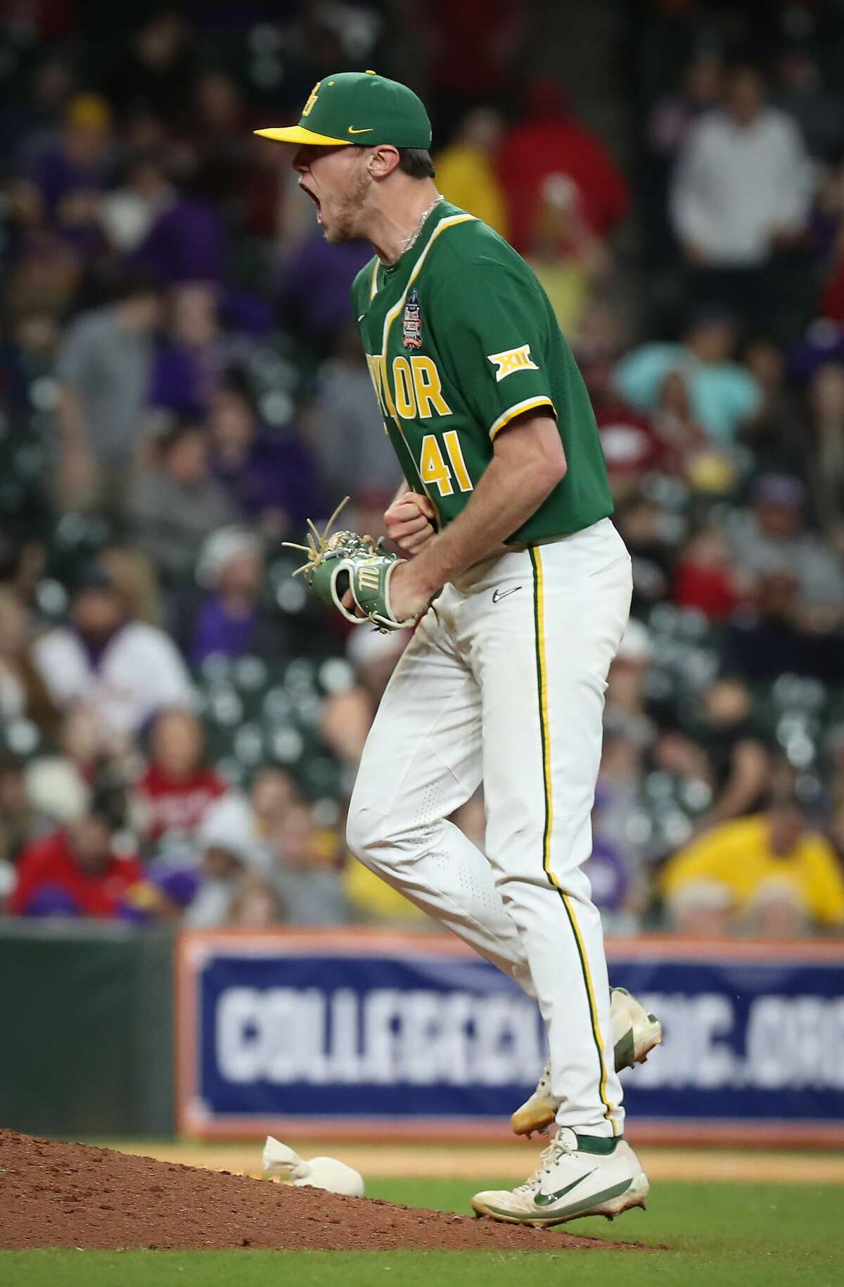 Baylor's Luke Boyd reacts to the final strike out during the 9th inning of the Shriners Hospitals for Children College Classic at Minute Maid Park Saturday, Feb. 29, 2020, in Houston.