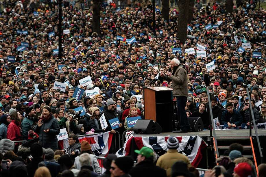 Sen. Bernie Sanders, I-Vt., speaks to supporters during a rally at the Boston Common on Feb. 29. Photo: Washington Post Photo By Salwan Georges / The Washington Post