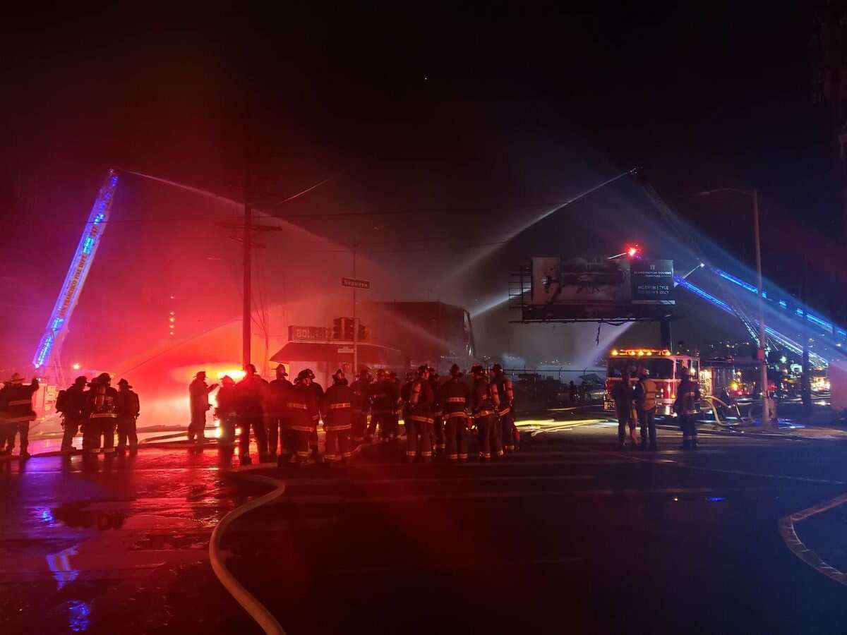 A warehouse in San Francisco's Bayview collapsed amid a four-alarm fire Feb. 29, 2020.