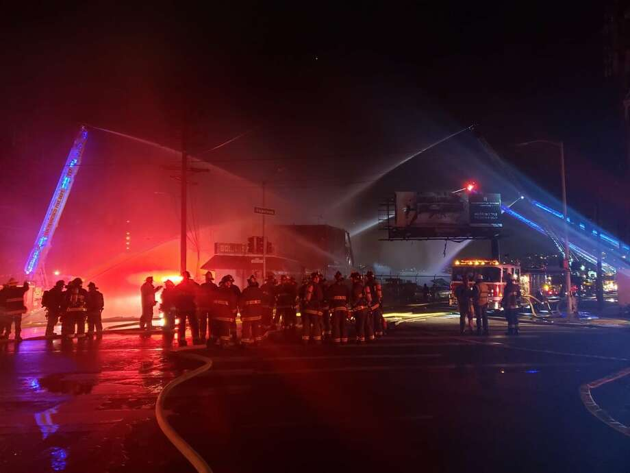 A warehouse in San Francisco's Bayview collapsed amid a four-alarm fire Feb. 29, 2020. Photo: San Francisco Fire Department