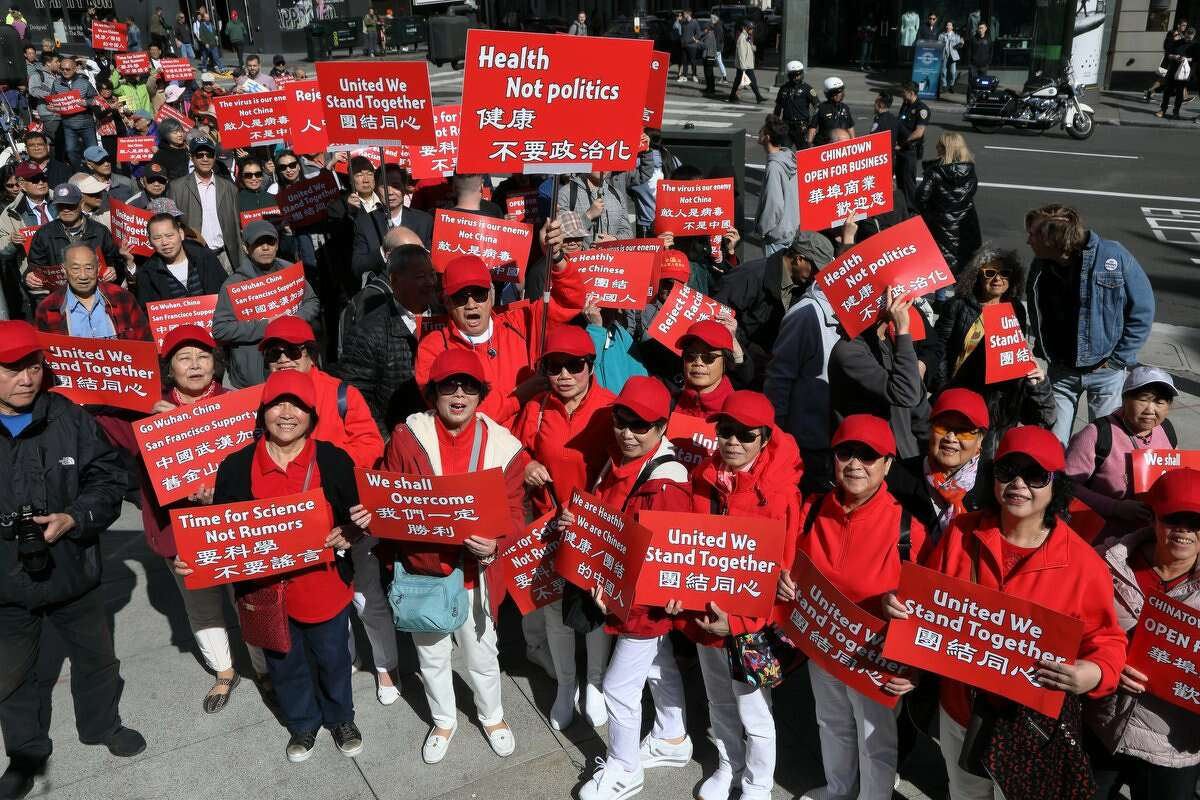 Hundreds gathered in San Francisco's Chinatown on Saturday for a march against anti-Chinese discrimination and baseless rumors around coronavirus.