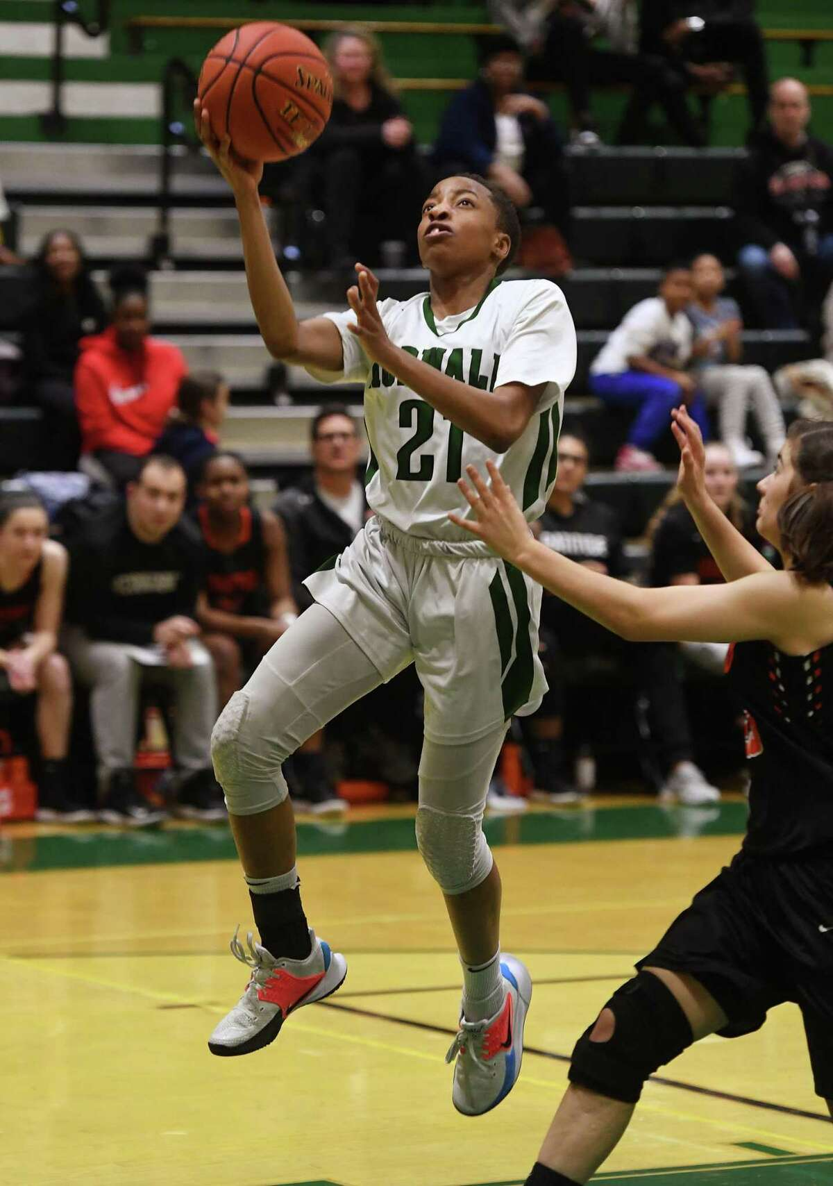 Norwalk's Jakara Murray-Leach drives for a fast break basket during the first half of her team's victory over Stamford at Norwalk High School in Norwalk, Conn. on Monday, February10, 2020.