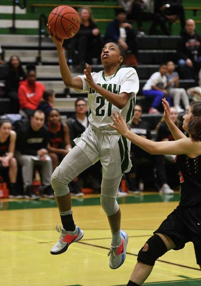 Norwalk's Jakara Murray-Leach drives for a fast break basket during the first half of her team's victory over Stamford at Norwalk High School in Norwalk, Conn. on Monday, February10, 2020. Photo: Brian A. Pounds / Hearst Connecticut Media / Connecticut Post