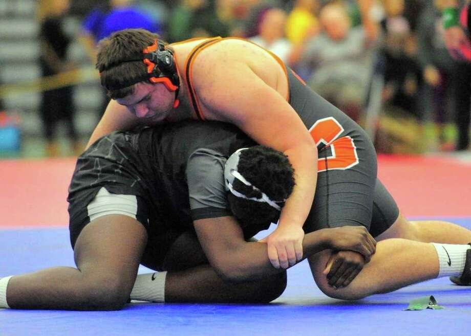 Matt Weiner from Shelton and New Haven's Jaylin Houston met for the State Open heavyweight wrestling title. Houston won a 5-1 decision. Photo: Christian Abraham / Hearst Connecticut Media / Shelton Herald
