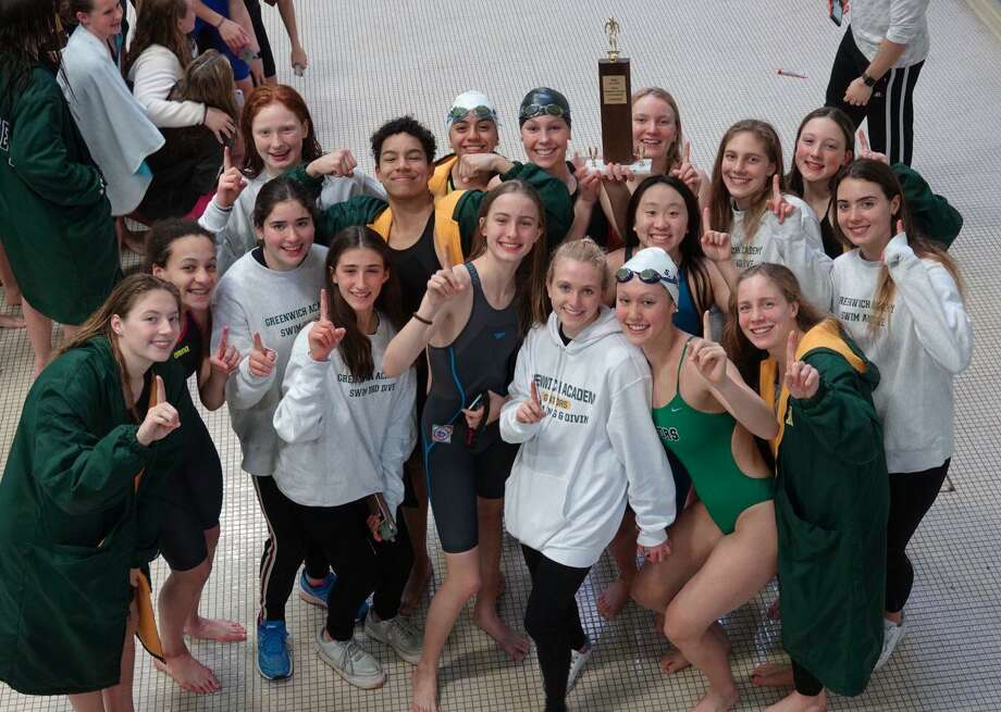 Greenwich Academy captured the team title at the FAA Swimming & Diving Championships on Saturday at Hopkins School in New Haven. Photo: Contributed Photo