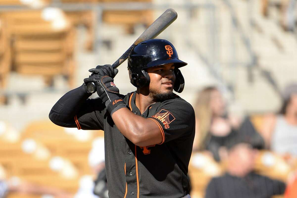 GLENDALE, ARIZONA - FEBRUARY 25: Heliot Ramos #80 of the San Francisco Giants bats against the Chicago White Sox on February 25, 2020 at Camelback Ranch in Glendale Arizona. (Photo by Ron Vesely/Getty Images)