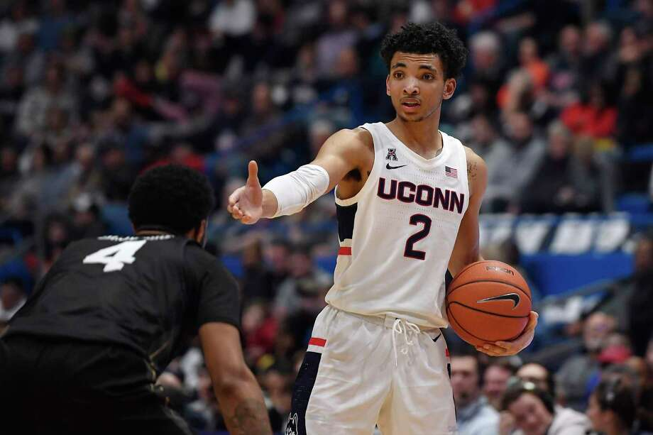 A pair of NBA scouts said they think UConn's James Bouknight would benefit from another year at the college level. Photo: Jessica Hill / Associated Press / Copyright 2020 The Associated Press. All rights reserved.