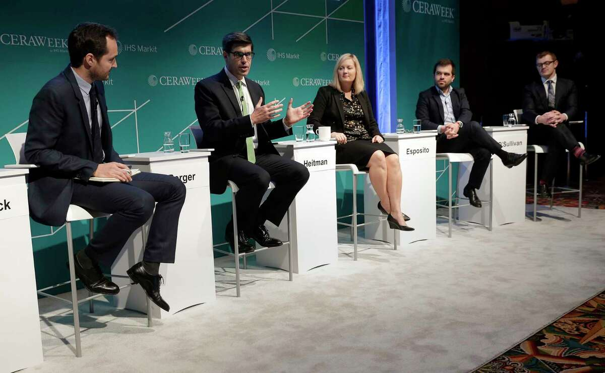 """(from left) Francesco d'Avack, Sr. Analyst of Global Renewables at IHS Markit; John Berger CEO of Sunnova Energy Corp.; Emily Heitman, Vice President, US & Canada, Schneider Electric; Nathanael Esposito, President of Solar PV & Storage NA, E.ON Climate & Renewables North America; and Francis O'Sullivan, Sr. Vice President, Strategy, Lincoln Clean Energy, during a panel discussion titled """" Global Solar: Shifting the focus from cost to value"""" on the fourth day of CERAWeek by IHS Markit at the Hilton Americas-Houston Hotel Wednesday, Mar. 14, 2019 in Houston, TX."""