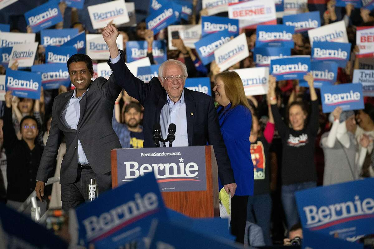 Congressman Ro Khanna introduces Bernie Sanders to the crowd at McEnery Convention Center, South Hall, Sunday, March 1, 2020 in San Jose, Calif.