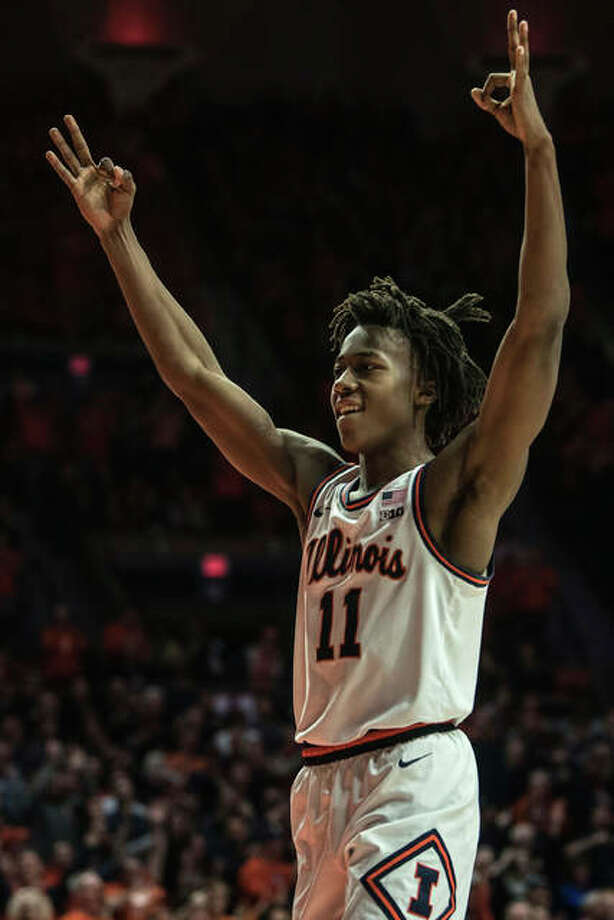 Illinois' Ayo Dosunmu (11) celebrates taking the lead over Indiana in the last minutes of the second half Sunday in Champaign. Photo: Associated Press