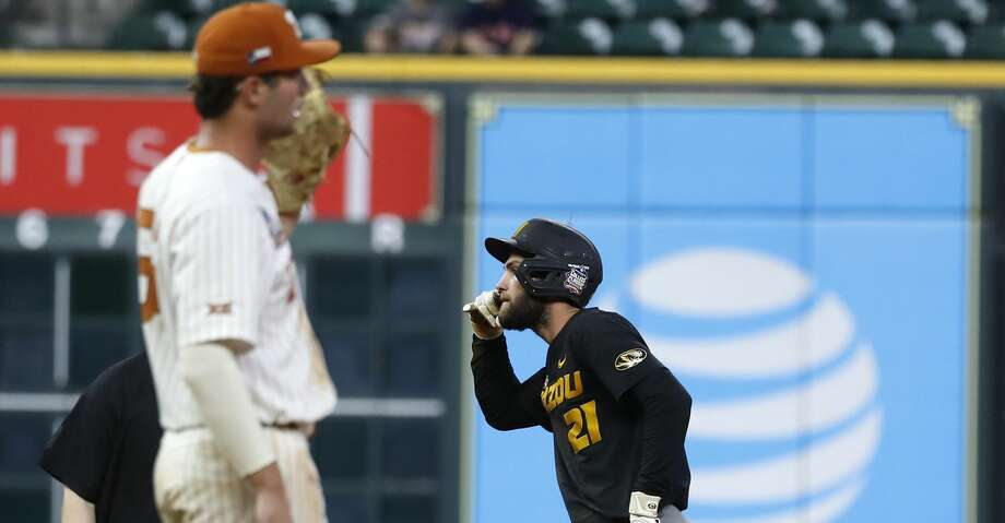 Mizzou's Brandt Belk (21) reacts after hitting an RBI double in the ninth inning against Texas during an NCAA college baseball game at Minute Maid Park during the College Classic tournament, in Houston,Sunday, March 1, 2020. Photo: Karen Warren/Staff Photographer