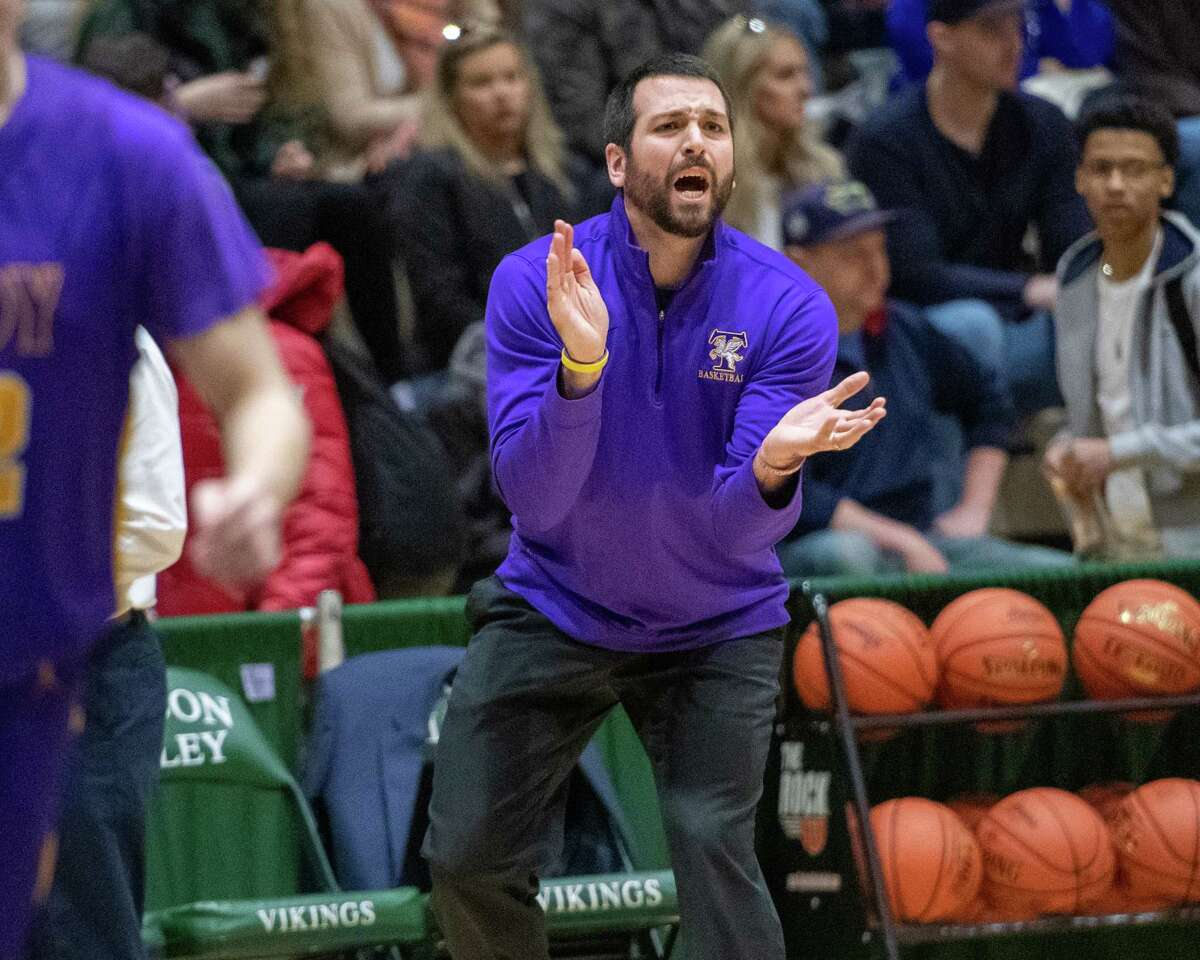 Troy head coach Greg Davis during a the Section II, Class A quarterfinal game against Averill Park at Hudson Valley Community College in Troy, NY on Sunday, March 1, 2020 (Jim Franco/Special to the Times Union.)