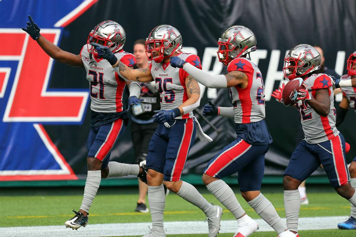 ARLINGTON, TEXAS - MARCH 01: The Houston Roughnecks celebrate an interception against the Dallas Renegades in the first half at an XFL football game on March 01, 2020 in Arlington, Texas. (Photo by Richard Rodriguez/Getty Images)