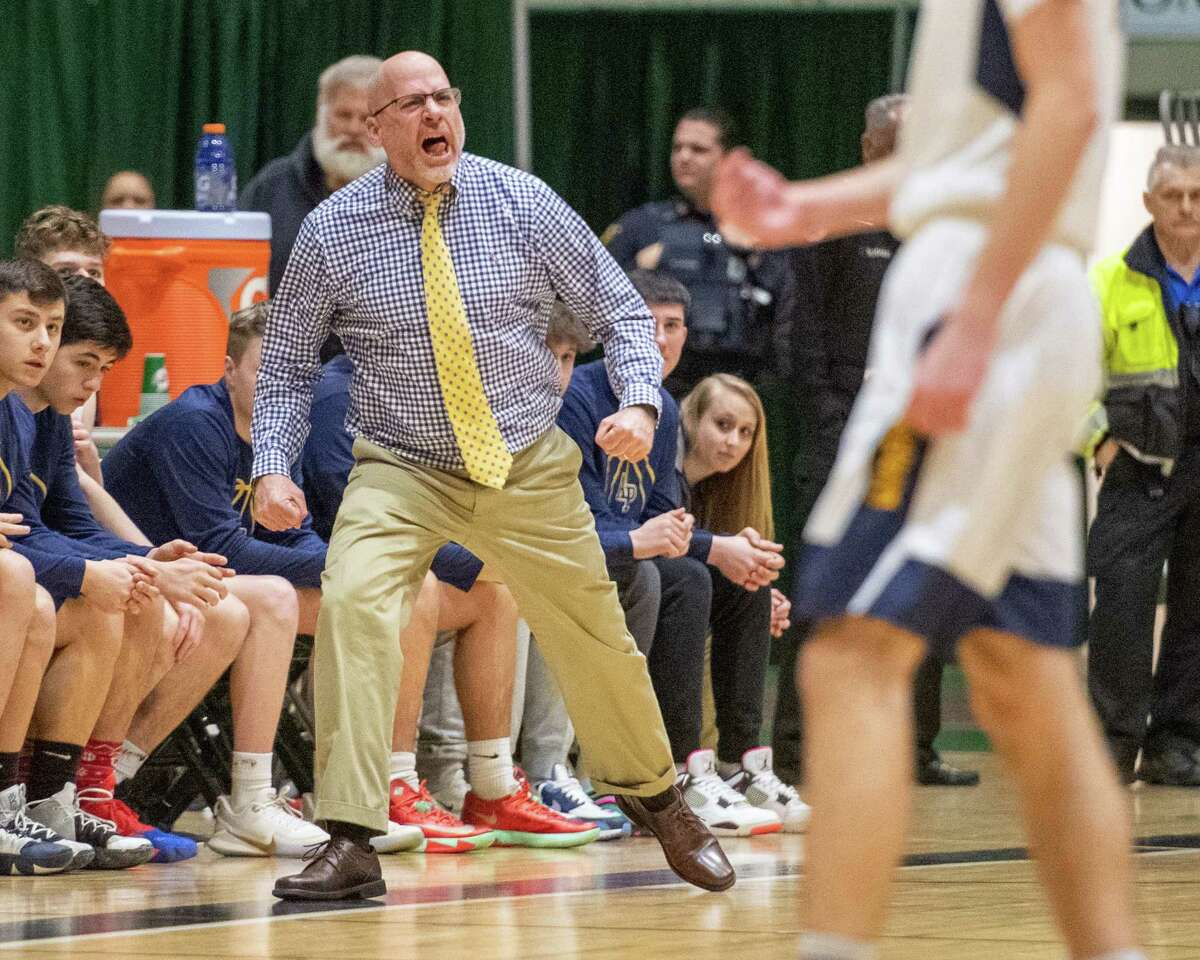 Averill Park head coach David Pugliese during a the Section II, Class A quarterfinal game against Troy at Hudson Valley Community College in Troy, NY on Sunday, March 1, 2020 (Jim Franco/Special to the Times Union.)