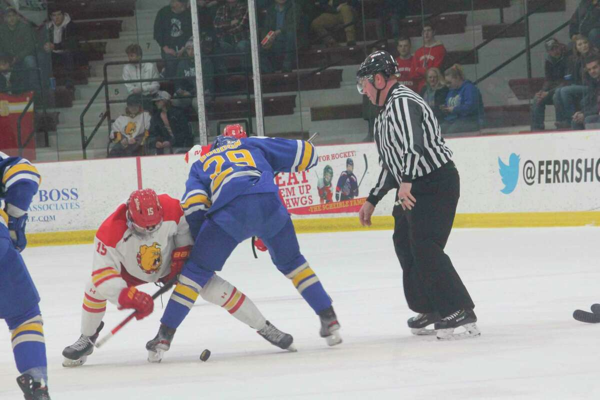 Ferris' Jake Transit (15) and Lake Superior's Louis Boudon (29) battle for the puck during Saturday's WCHA game at Ferris. (Pioneer photo/John Raffel)