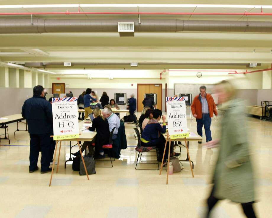 A steady turnout of voters vote at the District 9 polling center at the Eastern Greenwich Civic Center in the Glenville section of Greenwich, Conn. on Election Day, Tuesday, Nov. 6, 2018. Photo: Tyler Sizemore / Hearst Connecticut Media / Greenwich Time