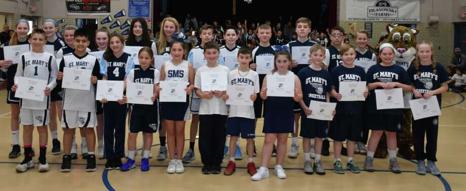 Top finishers come together after St. Mary School's Father Seggel Free Throw Contest. Photo: Contributed Photo / St. Mary School / Milford Mirror