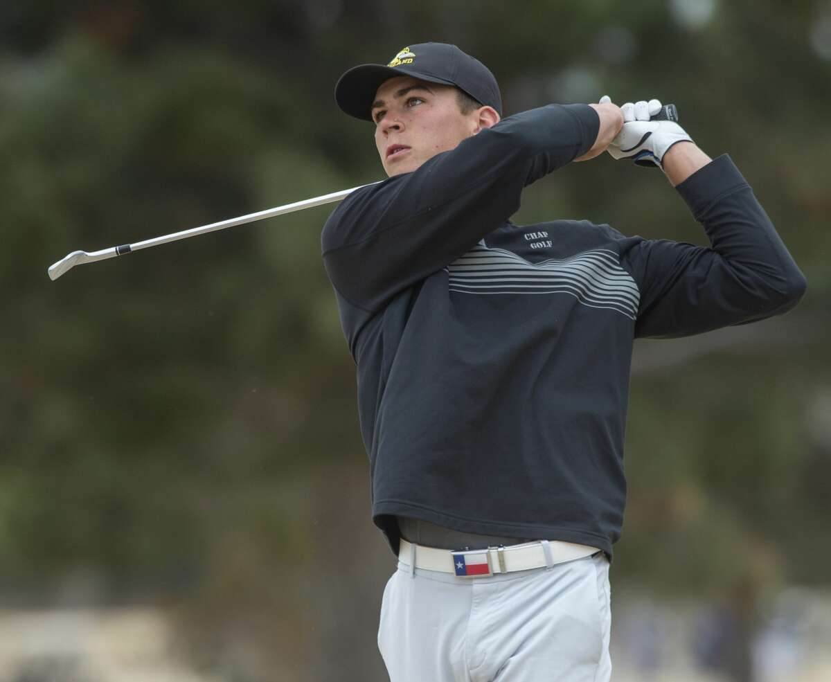 Midland College's Max Charles follows his tee shot 03/02/2020 at Green Tree Country Club during the TankLogix/Green Tree Invitational. Tim Fischer/Reporter-Telegram