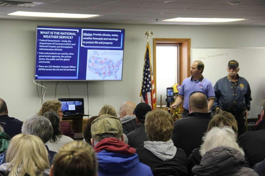About 200 people came to the Caseville Fire Hall on Friday to learn about high water levels along the Lake Huron shoreline. Many different agency representatives came to explain why the lake levels are high and what can be done about it. Photo: Robert Creenan/Huron Daily Tribune