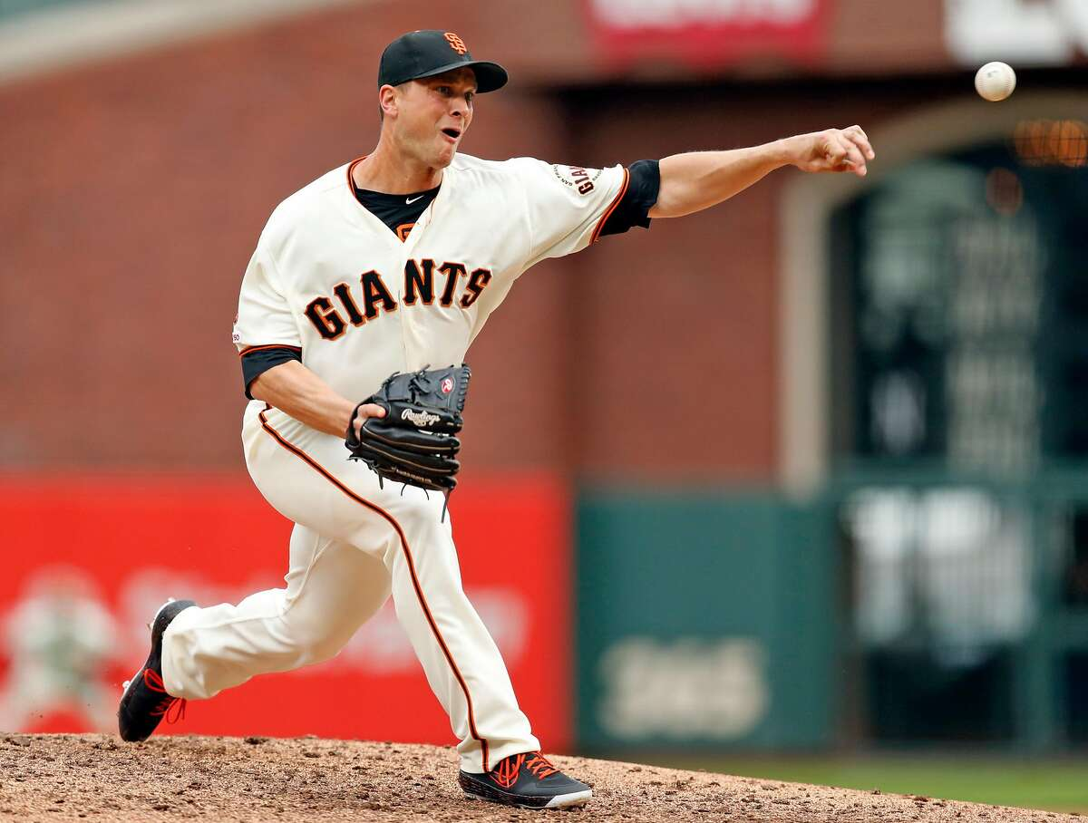 San Francisco Giants' Tony Watson pitches in 8th inning during 4-3 win over Toronto Blue Jays during MLB game at Oracle Park in San Francisco, Calif., on Wednesday, May 15, 2019.