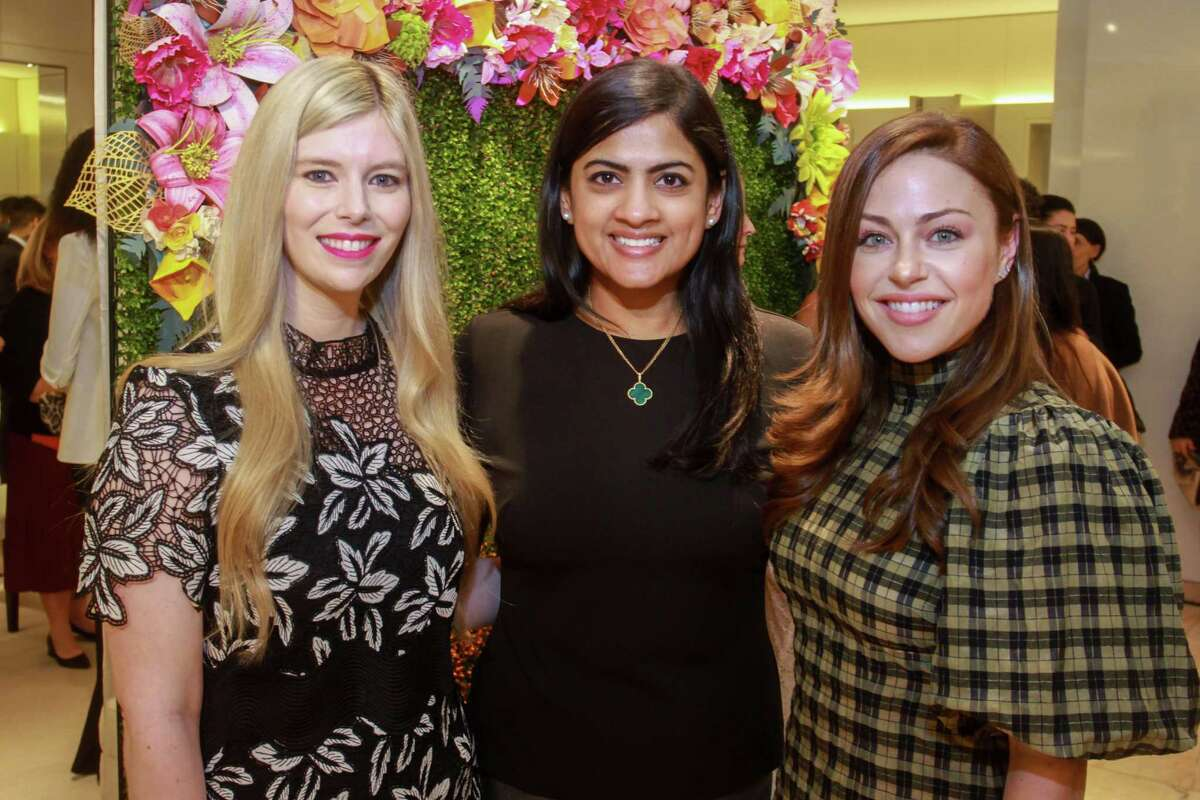 Kimberly Falgout Scheele, from left, Ishwaria Subbiah and Lexi Sakowitz Marek at the Neiman Marcus spring trends cocktail party on February 12, 2020 at Neiman Marcus in Houston.