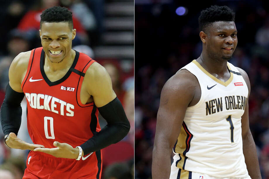 Russell Westbrook and Zion Williamson could reportedly be involved in a televised NBA competition of H-O-R-S-E. Photo: Karen Warren / Staff Photographer And Rusty Costanza / Associated Press