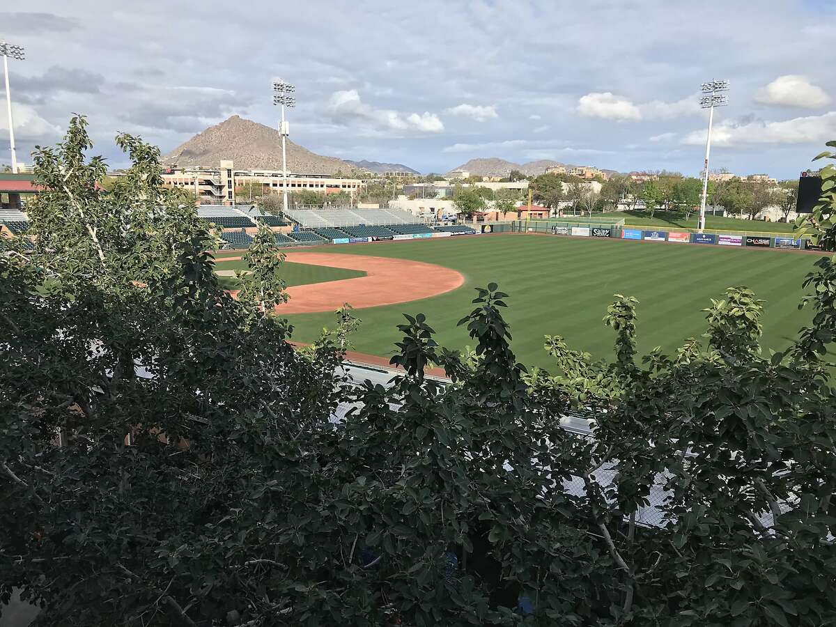The view of Scottsdale Stadium from the third floor of the Giants' new clubhouse and weight-room building.